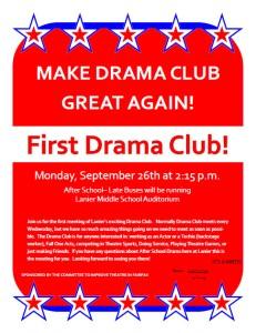 Drama Club Interest Meeting Flyer Fall 2016