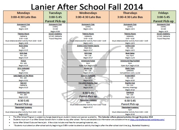 Clubs by day fall 2014