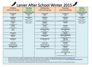Clubs by Day Winter 2015