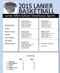 Wednesday Intra Bball Schedule
