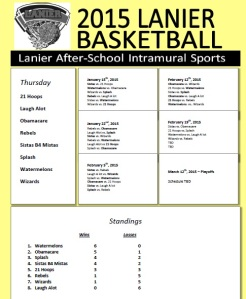 Thursday Intra Bball Schedule