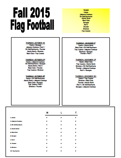 2015 Fall Intramural Flag Schedule pic