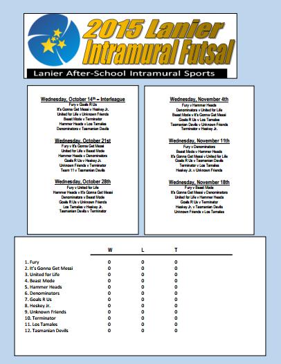 2015 Fall Intramural Schedule pic